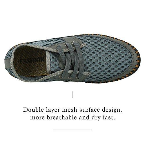 Walking Sneakers Casual Mesh Breathable Gray Water Mens Sibba Aqua Shoes 0q8ngv