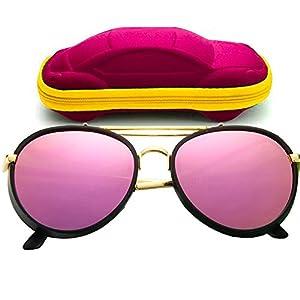 ONMet Kid Sunglasses Aviator Polarized UV Protection Baby Children 2017 New Fashion Eyewear 4-10 Year (Adorable Pink)