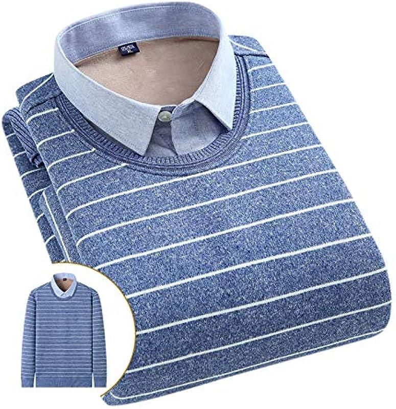 Elonglin Męskie Jungen Dicke Sweater Strick Pullover Hemd Langarmshirts mit Warmfutter Freizeit Slim Fit Blau 16 M: Odzież