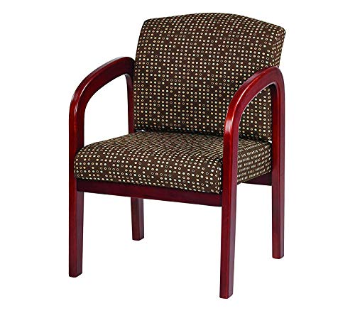 Оfficе Stаr Padded Fabric Seat and Back Visitors Chair with Cherry Finish Frame, Cocoa