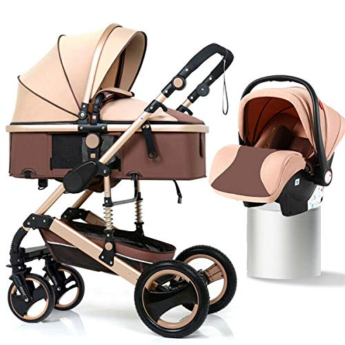 3 in 1 Pram Stroller, Foldable Carriage Stroller with Infant Basket Car Seat,Speed Racer Protection Standard, Adjustable High View Pram Travel System Pushchair, Grows with Your Child,Khaki