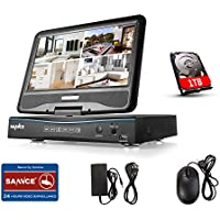 SANNCE 8CH 720P HD Security DVR with 1TB HDD, Hybrid HVR NVR DVR All In One W/ 10.1 LCD Screen Monitor, Support P2P Technology, Motion Detective, QR Code Scan Phone Remote Access Viewing