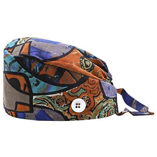 CHUANGLI Multi-Color Printed Working Cap with Sweatband Adjustable Tie Back Hats One Size for Women Men