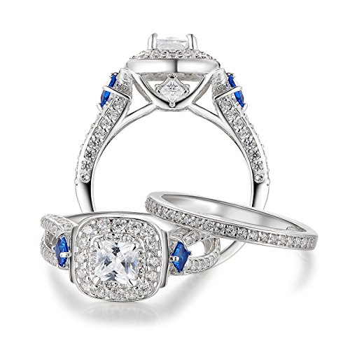 Newshe 2ct Princess Aaa Blue Cz 925 Sterling Silver
