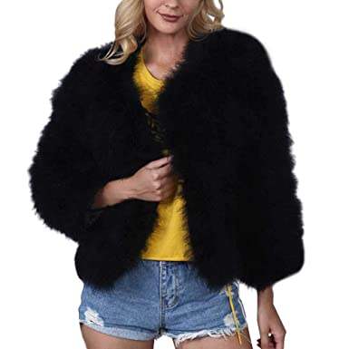 b97506f9a2 Image Unavailable. Image not available for. Color: Corriee Womens Faux Fur  Short Coats, Ladies Classic Long Sleeve V-Neck Jacket Winter