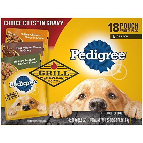 PEDIGREE CHOICE CUTS in Gravy Grill Inspired Adult Wet Dog Food Variety Pack, Hickory Smoked Chicken Flavor, Grilled Chicken Flavor in Sauce, and Filet Mignon Flavor in Gravy, (18) 3.5 oz. Pouches ()