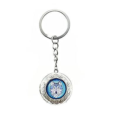 Azul lobo medallón llavero azul lobo cristal cabujón ...