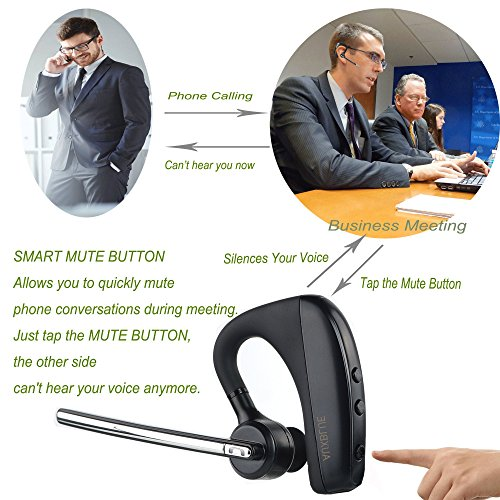 Bluetooth Headset, Hands Free Wireless Bluetooth In-Ear Earpiece Earbuds Noise Reduction Earphones Lightweight Headphones with Mic for Smarphone + Plastic Carrying Case Photo #6
