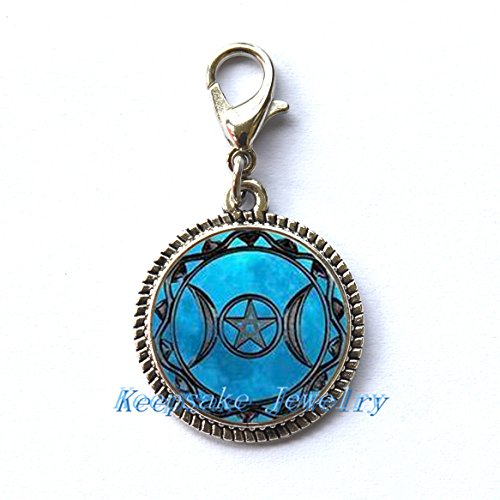 Triple Moon Goddess Zipper Pull, Perfect for Necklaces, Bracelets , keychain and earrings Charm planner charm Triple Moon Goddess handmade (Goddess Clip Earrings)