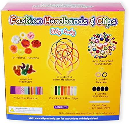 Elly & Andy 18 Fashion Headbands & Hair Clips for Girls Jewelry Making Kit - Best Arts and Crafts DIY Headbands Kit Great for Creative Decorating Party Fun