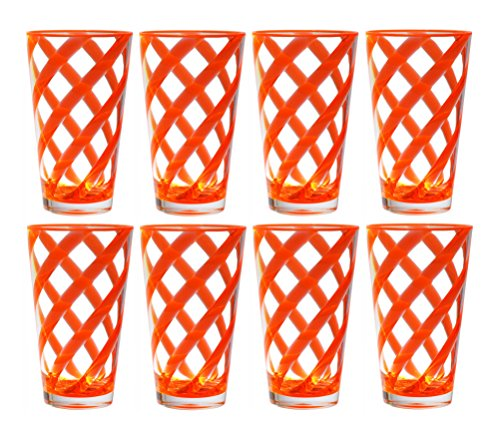 QG 8 pc 22 oz Twist Neon Orange Acrylic Ice Tea Cup with Clear Heavy Base Plastic Tumbler (Heavy Base Ice Tea)
