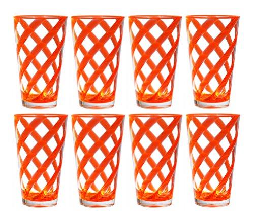 - QG 8 pc 22 oz Twist Neon Orange Acrylic Ice Tea Cup with Clear Heavy Base Plastic Tumbler Set