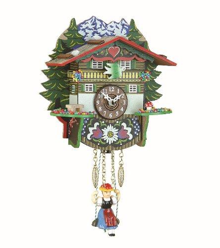 Kuckulino Black Forest Clock Swiss House with quartz movement and cuckoo chim. ISDD Cuckoo Clocks