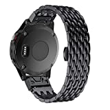 Yooside for Fenix 5 Metal Watch Band,22mm Stainless Steel Metal Quick Fit Watch Band Strap Wristband for Garmin Fenix 5/5 Plus/Forerunner 935/Approach S60,Fit Wrist 6.88''-9.05''(NOT for Fenix 5X/5S)