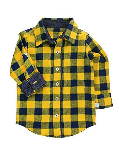 RuggedButts Baby/Toddler Boys Navy and Mustard Buffalo Plaid Button Down - 18-24m (Buffalo Mustard)