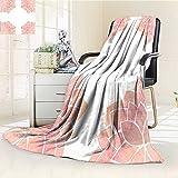 AmaPark Digital Printing Blanket Petals Lotus Flower Meditation Yoga Spiritual Flora Light Pink Summer Quilt Comforter
