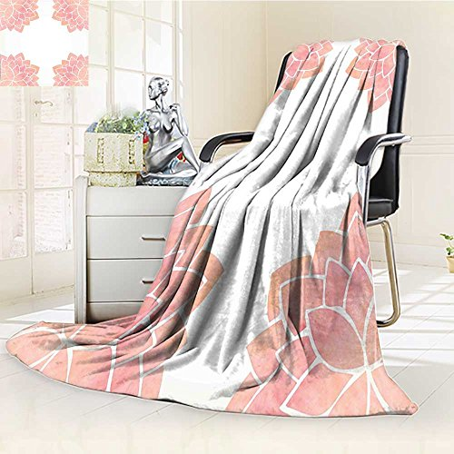 AmaPark Digital Printing Blanket Petals Lotus Flower Meditation Yoga Spiritual Flora Light Pink Summer Quilt Comforter by AmaPark