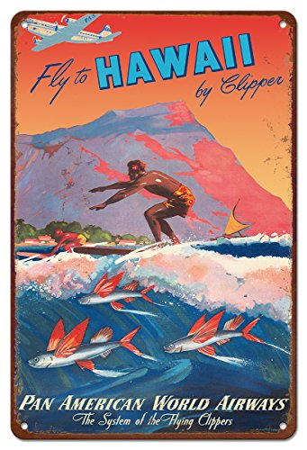 Hawaii Tin (Pacifica Island Art 8in x 12in Vintage Hawaiian Tin Sign - Fly to Hawaii by Mark Von Arenburg)