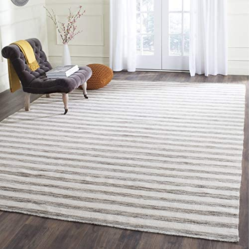Safavieh Dhurries Collection DHU575E Hand Woven Brown and Ivory Premium Wool Area Rug 8' x 10'