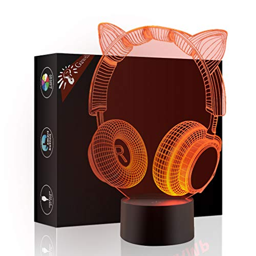 Christmas Gift Cat Ear Headphone 3D Illusion Beside Table Lamp, Gawell 7 Color Changing Touch Switch Decoration Night Light Birthday Present with Acrylic Flat & ABS Base & USB Cable Cat Theme Toy