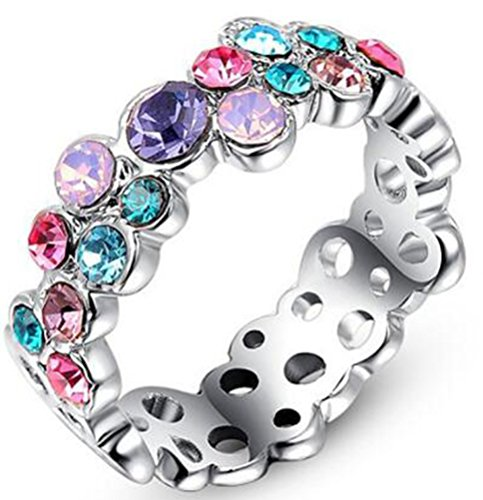 TEMEGO White Gold Colorful Flower Rings for Women,Multi-color Austrian Crystal Eternity CZ Cocktail Ring