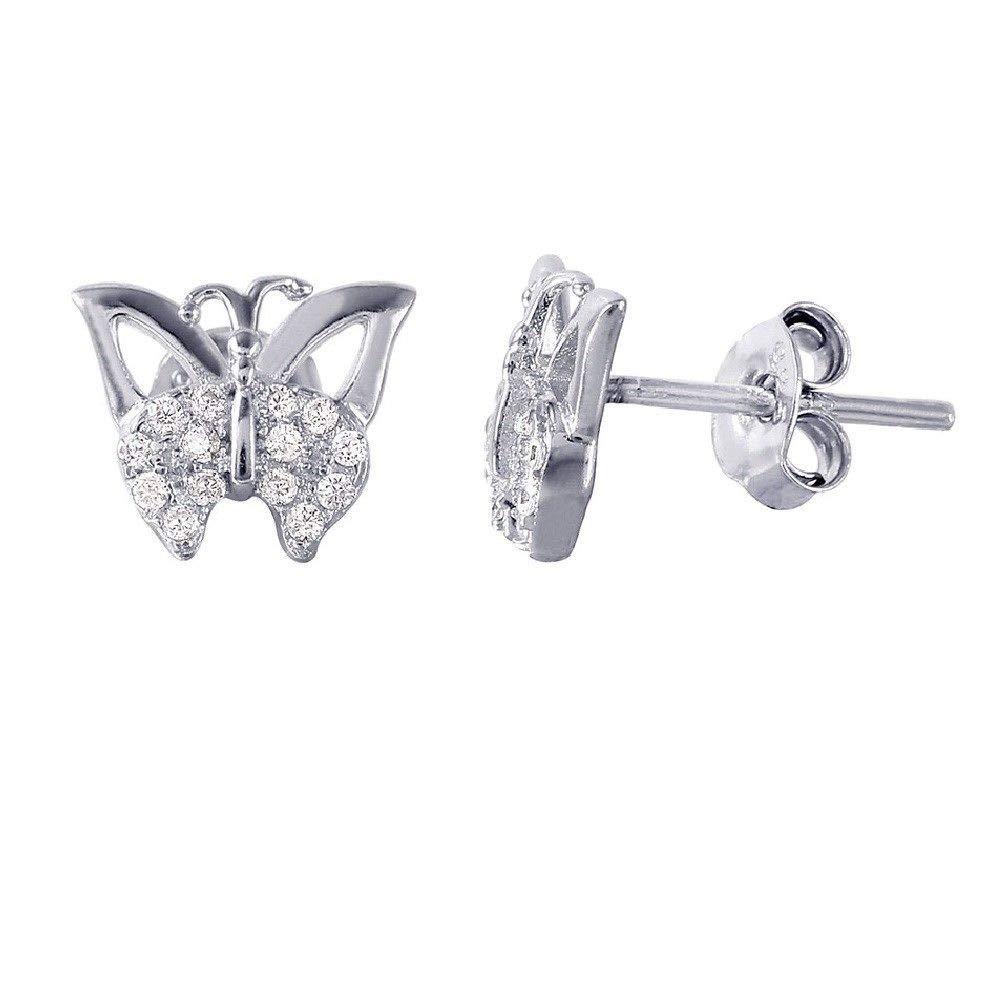 SURANO DESIGN JEWELRY Sterling Silver CZ Stones Butterfly Stud Earrings