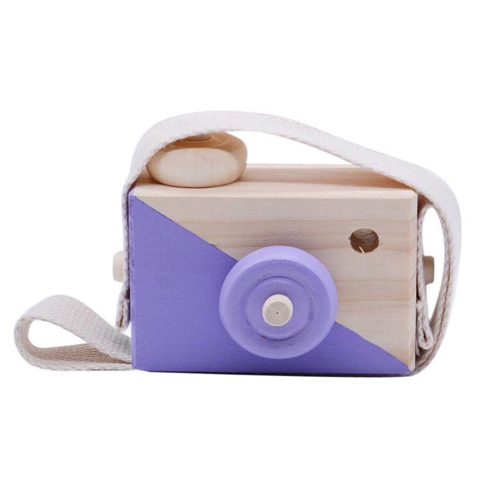 Wooden Mini Camera Toy, salaheiyodd Wooden Mini Camera Toy Pillow Kids' Room Hanging Decor Portable Toy Gift for Baby Birthday Gifts Wooden (Purple)
