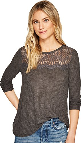 Lucky Brand Womens Lace Collar Thermal Top  Charcoal  X Large