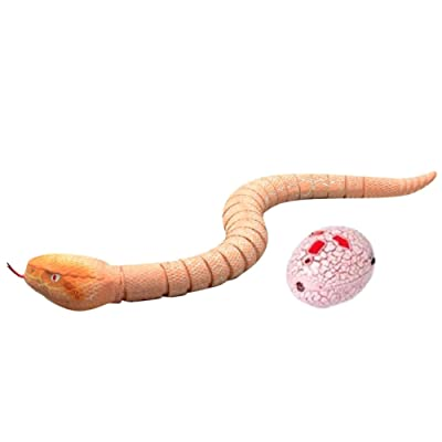 "16""Simulation snake Realistic Rechargeable Remote Control Snake Rattlesnake Animal Toy for KidsPlay and Trick  (Pink)"