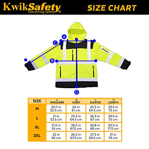 KwikSafety (Charlotte, NC) GALAXY Class 3 SoftShell Safety Jacket | ANSI Water Resistant Lightweight Reflective Hi Vis PPE Detachable Hood| Wind Rain Construction, Men Women Yellow | XX-Large by KwikSafety (Image #6)