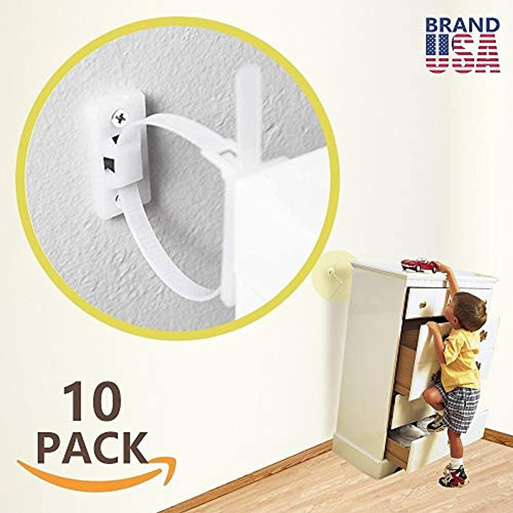 Metal Anti-Tip Furniture Straps Childproof TV Baby Proof and Wall Anchor LA