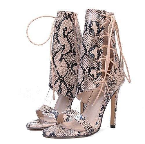 5 Dito EUR Vestito sandali Discoteca 37 L Serpentina Festa cinghie 4 Attraversare Tacco Stiletto UK XIE Nero piede Donna del 5 Scarpe alto Sbirciare Tq8BU