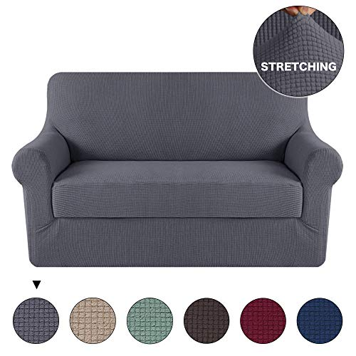 - Turquoize Stretch Slipcover Sofa Loveseat Cover 2 Piece Sofa Cover/Loveseat Furniture Cover with Spandex Jacquard Small Checked Pattern Grey Loveseat 2 Seater Cover Furniture Cover