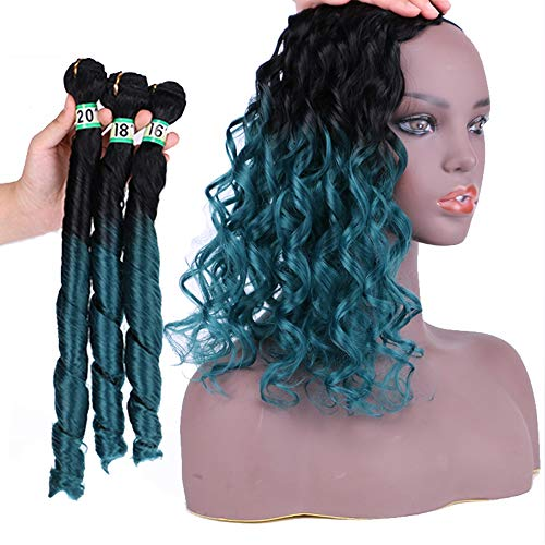 Two-Tone Hairpieces,Spring Wave Wigs,Hair Extension,Chemical Fiber High Temperature Wire Hair Weaving,3 Bundles/Lot,(16
