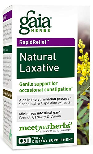 Gaia Herbs  Natural Laxative Tablets, 90 Count (Pack of 2) - Support for Constipation, Minimizes Intestinal Gas (Best Natural Laxative For Constipation)