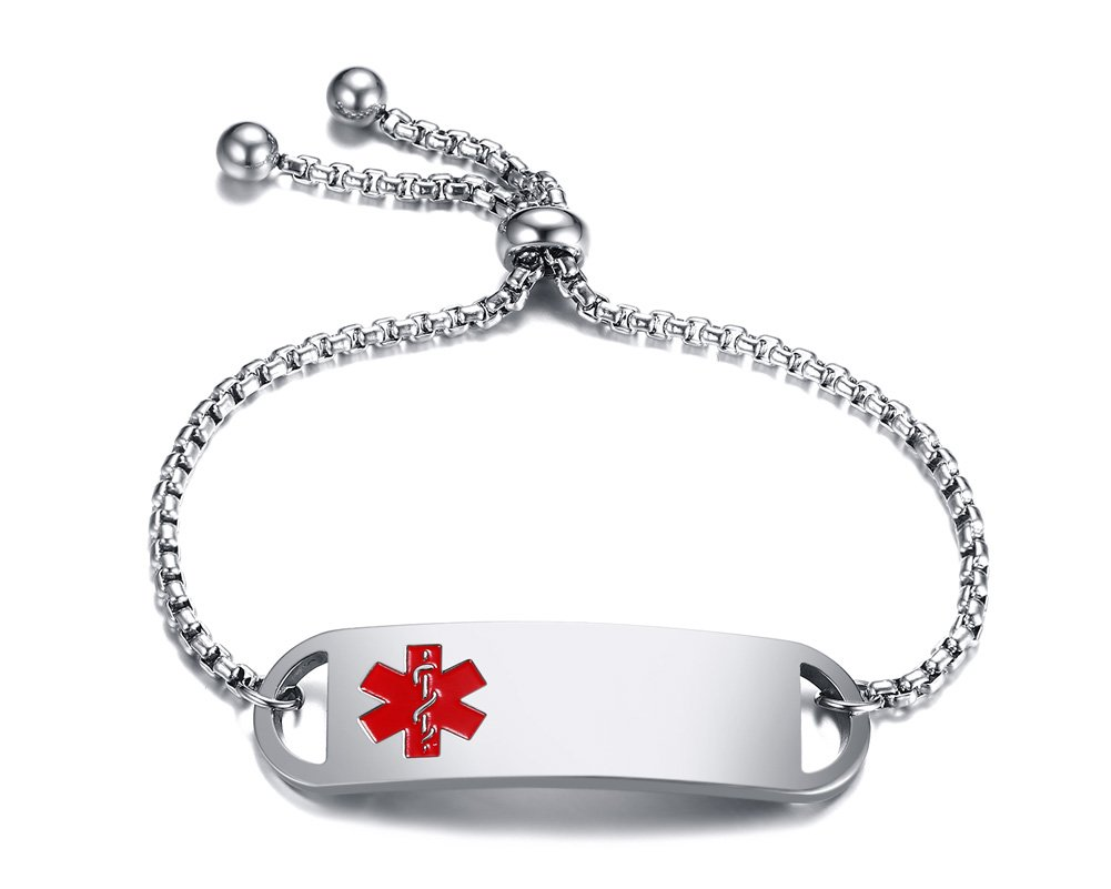 Free Custom Engraving Stainless Steel Medical Alert ID Thin Adjustable Bracelet for AdultΧld,6''-8''