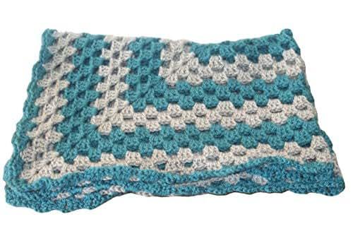 Amazon Com Teal Baby Blanket Gray Baby Afghan Pram