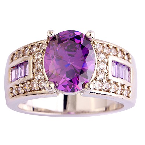 Narica Womens Brilliant Oval Cut Amethyst Cocktail Ring Band Large Oval Amethyst Ring