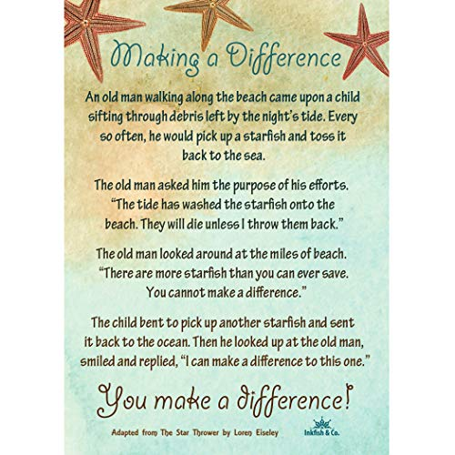 (Starfish Poem Story 25 Laminated Cards for People Who Make a Difference Inspirational Appreciation Recognition)