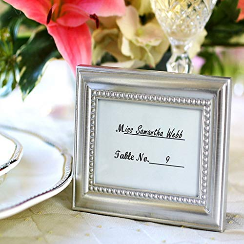 XuBa 100pcs/Lot+Beautifully Silver Beaded Photo Frame and Place Card Holder Wedding&Bridal Shower Favors Show ()
