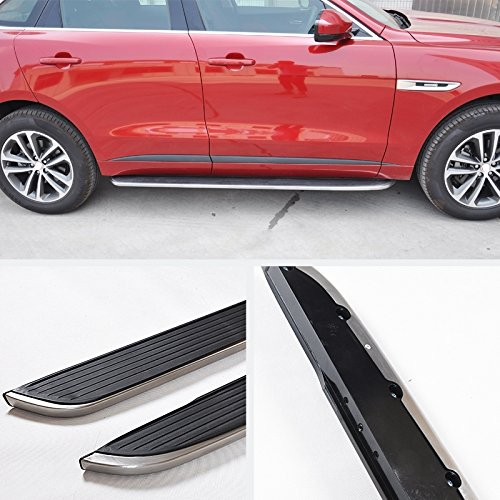 VIOJI2pcs New OE Style Black Aluminum Side Step Nerf Bars Running Boards + Necessary Mounting Hardware For 16-18 Jaguar F-Pace by VIOJI