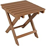 Sunnydaze All-Weather Folding Patio Side Table, Faux Wood Design, Brown