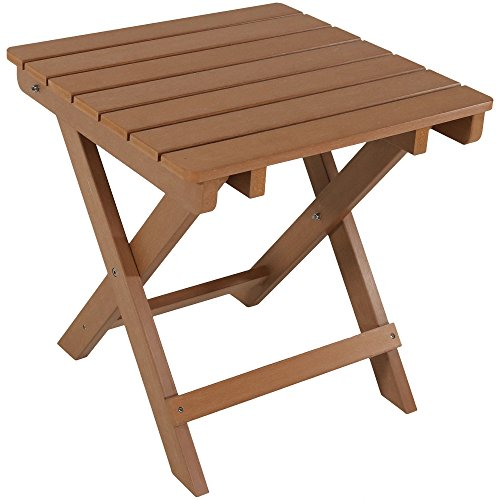 Sunnydaze All-Weather Folding Patio Side Table, Faux Wood Design, Brown (Adirondack Rectangular Table)