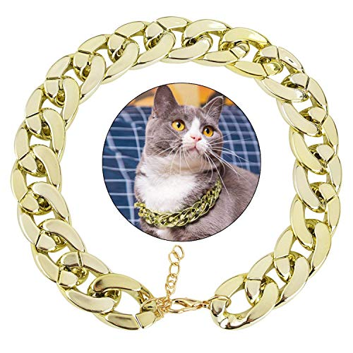 ain, Cuban Link Dog Collar Pet Chain Collar Fashion Cool Plastic Pet Chain Necklace for Cat Dog ()