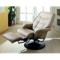 Coaster Home Furnishings  Modern Contemporary Upholstered Padded Arm Swivel Lounger Recliner - Bone Faux Leather