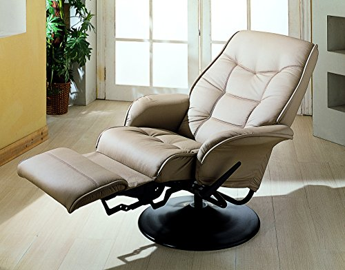 Coaster Home Furnishings  Modern Contemporary Upholstered Padded Arm Swivel Lounger Recliner - Bone Faux Leather - Coaster Furniture Recliner