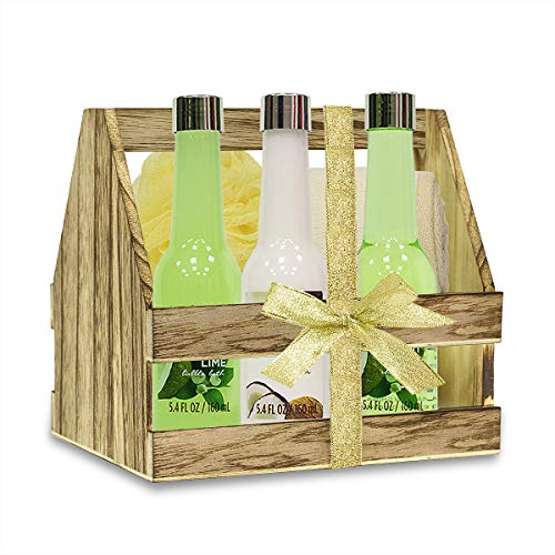 Bath Spa Basket Set, Body & Earth 6 Pcs Luxurious Coconut & Lime Spa Kits - Shower Gel, Bubble Bath, Body Lotion and more, Infused with Coconut Essential Oils and ()