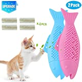 【Upgraded】 Pet Cat Fish Shape Toothbrush Toys, OOOUSE 2Pack Interactive Cat Fish Shape Catnip Toy Refillable Simulation Fish Silicone Teeth Cleaning Chewing Stick Pet Supplies for Cats Kittens