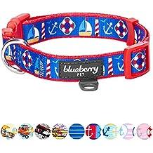 "Blueberry Pet 9 Patterns Peace Bon Voyage Nautical Blue Dream Designer Dog Collar, Medium, Neck 14.5""-20"", Adjustable Collars for Dogs"
