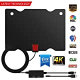 TV Antenna, Indoor HDTV Antenna 1080P/4K/2160P 60-90 Miles Range with 2018 Newest Type Switch Console Amplifier Signal Booster, USB Power Supply And 16.5 ft Coaxial Cable(Black)